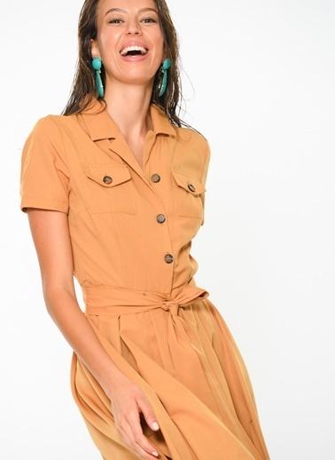 Loves You Gömlek Elbise Sarı